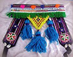 Tribal Belly dance Belt with Blue Tassels