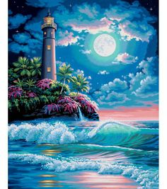 Lighthouse in The Moonlight Paint By Number Kit - x Achieve subtle tones and make the designs look realistic with the use of this painting kit. Oil Canvas, Canvas Art, Moonlight Painting, Lighthouse Painting, Paint By Number Kits, Paint By Numbers, Diamond Art, Diamond Cross, Crystal Diamond