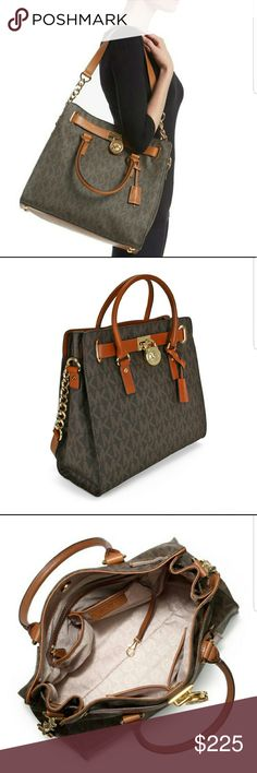 Michael Kors Large Hamilton tote Authentic Michal Kors Hamilton Large logo tote. Brown signature print with acorn brown leather handles and strap. Dimensions 14 x 13 x 6.25. Price is firm. Comes with dust bag. Michael Kors Bags Totes