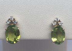 14K YELLOW GOLD PERIDOT & DIAMOND STUD EARRINGS NWOT #Stud