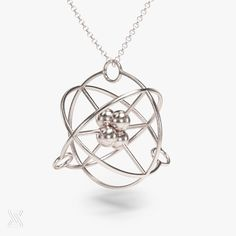 science jewelry: silver atom necklace - chemistry gift - 3D printed atom pendant - periodic table - electron - physics by somersault1824 on Etsy https://www.etsy.com/listing/254821125/science-jewelry-silver-atom-necklace