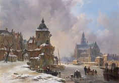 Bartholomeus Johannes van Hove - Winter cityscape with frozen river - 19th century
