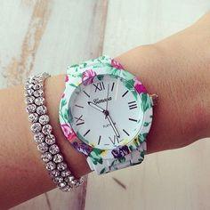 Floral Geneva Watch + Bracelet