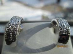 Vintage Designer .05ctw Genuine H-SI1 Diamond .925 Sterling Silver Stud Earrings,  Wt. 3.9g