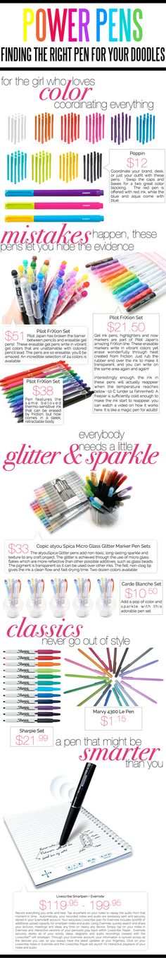 Power Pens - Finding The Right Pen For Your Doodles — Project Gadabout #GlitterSparkle