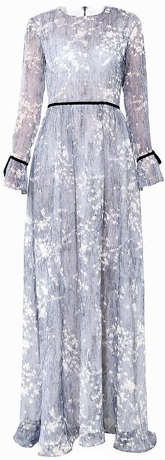Long Floral Printed Silk Gown, Grey