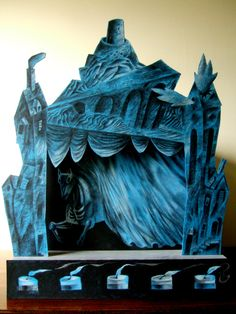 """""""The Dark Movements Toy Theatre"""" by Clive Hicks-Jenkins.  For a fascinating blog post on the creation of the theatre visit: https://clivehicksjenkins.wordpress.com/2015/01/20/the-dark-movements-toy-theatre-from-start-to-finish/"""