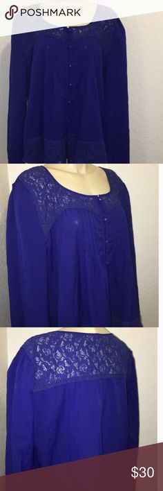 Blue floral lace long sleeve blouse Everyone looks good in blue! I love this top but i bought it and then it didn't fit. :( this is a pretty blouse with a button down front, front pleats and floral lace on the front and back. Size 2X that measures underarm to underarm 23.5 in long and from shoulder to bottom is 28 in in length. Perch by Blu Pepper Blu Pepper Tops Blouses