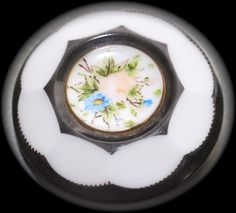 Old Milk Glass Hand Painted Flowers Button  Large by KPHoppe