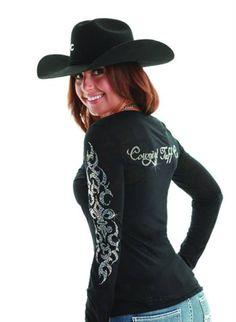 Cowgirl Tuff Longsleeve Rhinestone Shirt