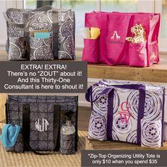 Thirty-One Gifts – ZOUT all about it! #ThirtyOneGifts #ThirtyOne #Monogramming #Organization #September2017Special #SaveBig #SuperSwapItPocket #ZipTopOrganizingUtilityTote