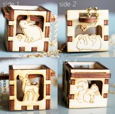 Woodland Animals Locket  Rabbit Deer Squirrel Bear Leaves by iluxo, $34.99  What little girl wouldn't love this?