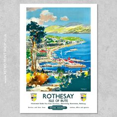 Railway Posters, Travel Posters, Isle Of Bute, Vintage Posters, Poster Prints, Retro, Painting, Art, Poster Vintage