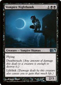 Magic: the Gathering - Vampire Nighthawk (112) - Magic 2013 by Wizards of the Coast. $1.13. A single individual card from the Magic: the Gathering (MTG) trading and collectible card game (TCG/CCG).. This is of Uncommon rarity.. From the Magic 2013 (M13) set.. Magic: the Gathering is a collectible card game created by Richard Garfield. In Magic, you play the role of a planeswalker who fights other planeswalkers for glory, knowledge, and conquest. Your deck of cards repre...