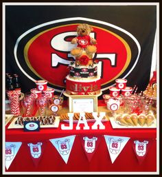 Just Lovely Favors .'s Baby Shower / Baby Shower - Football at Catch My Party Baby Shower Table, Baby Shower Favors, Shower Party, Baby Shower Parties, Baby Shower Photos, Boy Baby Shower Themes, Baby Boy Shower, 49ers Birthday Party, 8th Birthday