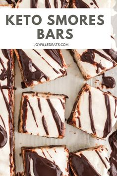 Ooey gooey Keto Smores Bars are dreamy and delicious. Every bite has a shortbread layer that's chewy and full of chocolate chips, topped with a layer of creamy marshmallow, and finally a decadent chocolate drizzle to complete them. And the best part is that they are Keto, Low Carb, Gluten-Free, and Grain-Free too! Ketogenic Desserts, Low Carb Desserts, Fun Desserts, Low Carb Recipes, Dessert Recipes, Keto Snacks, Ketogenic Diet, Melting Chocolate Chips, Chocolate Drizzle
