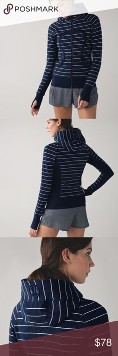 Lululemon heathered inkwell scuba hoodie In excellent condition with no flaws! This is the longer, less constricting version. Super soft and comfy. Featured in lookout stripe heathered inkwell. Made of cotton fleece. Thanks for looking.💕 lululemon athletica Tops Sweatshirts & Hoodies