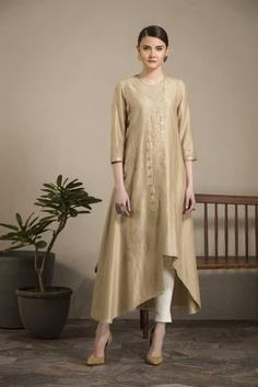 Moss Embroidered Tunic Tunic Only (Pants are NOT Included) Fabric Material: Chanderi Material Composition: Silk Care: Dry Clean Only Kurtha Designs, Tunic Designs, Kurta Designs Women, Kurti Styles, Stylish Dresses For Girls, Am Pm, Embroidered Tunic, Embroidery Dress, Indian Designer Wear