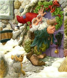 Nisse hanging Christmas garland around an arched door.