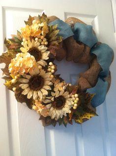 Fall Burlap Bubble Wreath, Sunflower Wreath, Burlap Harvest Wreath on Etsy, $75.00