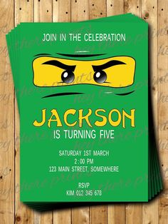 NINJAGO INVITATIONS Digital Birthday Invitations **PLEASE CHECK THE SHOP FOR MATCHING THANK YOU CARDS AND OTHER COLOURS This auction is