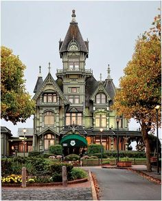 "The Carson Mansion – Eureka, CA~The Carson Mansion is a large Victorian house located in Old Town, Eureka, California. Regarded as one of the highest executions of American Queen Anne Style architecture, the home is ""considered the most grand Victorian home in America."