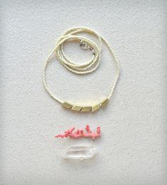 Glass Bead & Brass Rhombus Necklace