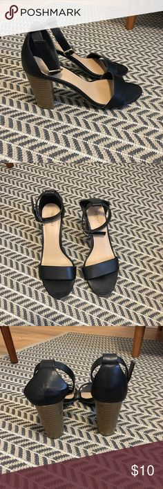 Heeled Ankle Strap Sandals Block wood heel with ankle straps. Lightly worn. Old Navy Shoes Heels