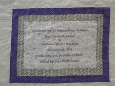 Label For Amy And Matts Wedding Quilt