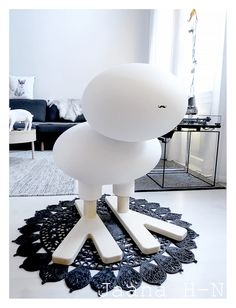 """Eero Aarnio designed this """"bird"""" in I added the fabulous stache. it's a sticker.) The little carpet is from H&M Home collection. Garden Furniture, Furniture Design, Bubble Chair, Air Chair, H&m Home, Italian Furniture, Deco, Home Collections, Bird"""