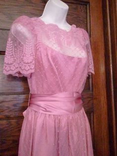 Vintage 70s Rose Pink Lace and Satin Maxi by VansVintageTreasures, $49.00