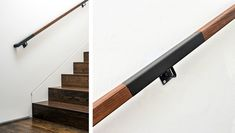 An example of wooden stairs with a close-up look at the handrail.