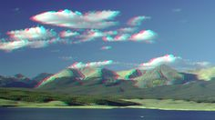 Lakeside with green coated mountains. ... 3D photographs with their digital camera and without the use of a 3D