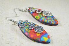 aluminium polymer clay earrings polymer clay jewelry multicolored fuxia earrings aluminium earrings dangle orecchini FIMO alluminio