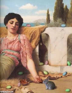 Lady with Easter Eggs on Easter Sunday Painting by Godward