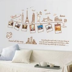 [Visit to Buy] Home Decoration Vinyl Wall Sticker Travel All the Way Happy Memories Pictures Room Decal Art Mural Wallpaper Wall Stickers Travel, Photo Wall Stickers, Wall Stickers Home, Vinyl Wall Decals, Travel Room Decor, Travel Bedroom, Kids Bedroom, Bedroom Decor, World Travel Decor