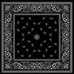 Black with white bandana patterns design vector 02
