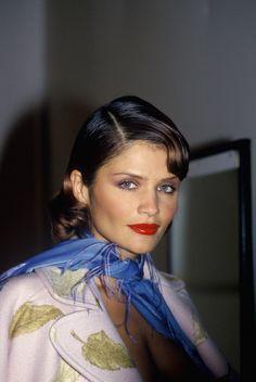 Helena Christensen.. 1994 Paris backstage for Valentino.