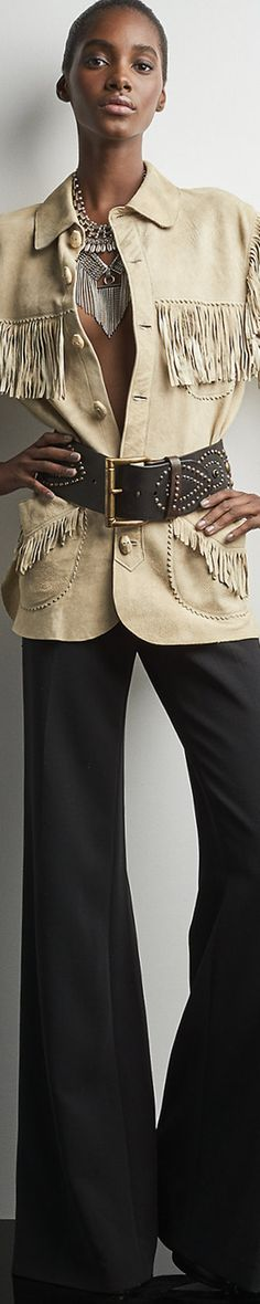 Ralph Lauren: Boɧo⚜️Ʈђƹ Ƥƹคк of ςђic⚜️ ננ Just L=O=V=E! this outfit. Fab Garrison Suede from master designer Ralph Lauren. For modesty's sake, I'd add a turtleneck or tank underneath. These are the key component pieces I have in my closet. Timeless, classic and gorgeous. Love the fringe detail throughout; how it's teamed with a huge studded leather belt, wide legged pants and fab necklace to boot. My kinda style, all around slammin' good!