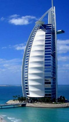Hotel, Burj al Arab, Dubai (United Arab Emirates) - suggests a sailboat #dubai #uae