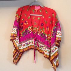 Betsey johnson poncho Very cute. Good condition. One size fits all Betsey Johnson Sweaters Cardigans