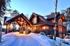 Luxury Log Home on White Iron Lake. Lake home and cabin #realestate in #ElyMN. #bearislandland