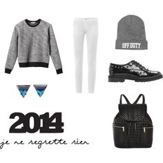 """JeNeRegretteRien"" by workingincloset on Polyvore #outfit #fashion #style #black #offduty #rock #blogger #blog #backpack #whitejeans #workingincloset"