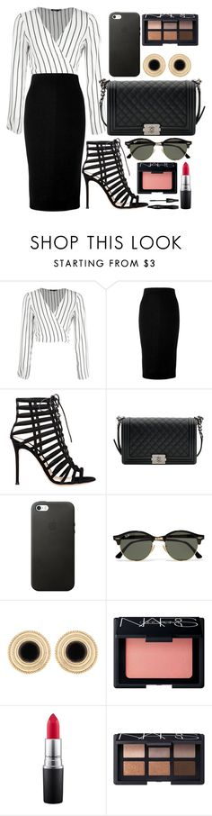 """""""Untitled #111"""" by nvyymd ❤ liked on Polyvore featuring Victoria Beckham, Gianvito Rossi, Chanel, Ray-Ban, NARS Cosmetics, MAC Cosmetics, Lancôme and stripedshirt"""
