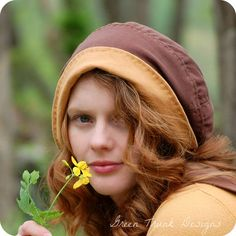 Sunflower Slouchy Beanie Hat, Yellow and Brown, Recycled T-shirt Hat