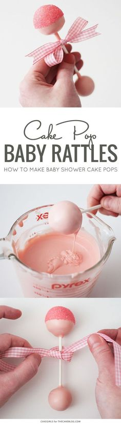 DIY Baby Rattle Cake Pops perfect for baby showers by Cakegirls for Idee Baby Shower, Fiesta Baby Shower, Baby Boy Shower, Baby Shower Gifts, Baby Shower Cake For Girls, Cakes For Baby Showers, Diy Baby Shower Favors, Girl Baby Showers, Baby Shower Goodie Bags
