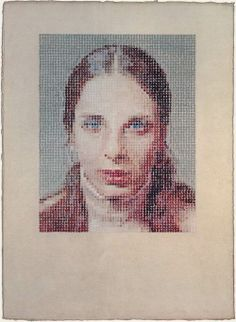 Chuck Close, Leslie, 1977, pastel on water-color washed paper