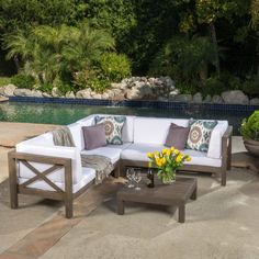 Best Selling Home Josefina 4 Piece X-Back Wooden Patio Sectional Set with Cushions White - 299123