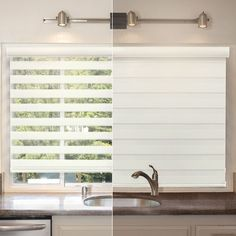 Chicology Striped Mocha Free-Stop Cordless Dual-Layer Fabric, Sheer and Privacy Zebra Roller Shade - 43 in. W x 72 in. - The Home Depot Sheer Shades, Shades Blinds, Types Of Blinds, Zebra Shades, Zebra Blinds, Zebra Curtains, Best Blinds, Curtains With Blinds, Valance
