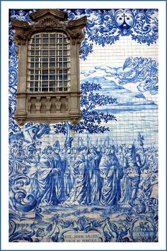 Azulejo - a form of Portuguese painted, tin-glazed, ceramic tilework and have been produced for five centuries. Found on all types of public and private buildings for decorative or as depictions of historical & cultural events / Portugal Tile Art, Mosaic Art, Mosaic Tiles, Portuguese Tiles, Spain And Portugal, Portugal Trip, Porto Portugal, Beautiful Wall, Delft